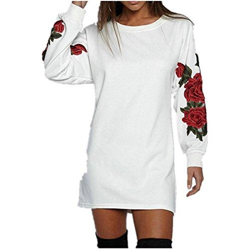 Strapless Rose (Kolylong® Sweatshirt damen Frauen elegante rose gedruckt lange Ärmel bluse Casual lose T-Shirt Tops Herbst Pullover Sweatshirt (L, Weiß))