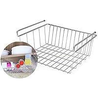 Hifuture Küche Aufbewahrungskorb Schrankkorb Regaleinhängekorb - einfach einhängen, Edelstahl, 33 x 28 x 15.5cm, Silber