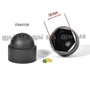 ajile - 20 pièces - Cache vis écrou de protection M12 clef de 18 mm - plastique NOIR - FAH118