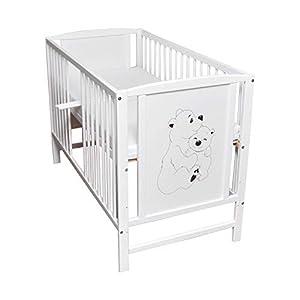 Babybett Gitterbett Kinderbett Sprossen 120×60 Weiß Bär Bärchen Motiv mit Matratze NEU
