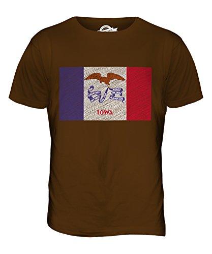 CandyMix Bundesstaat Iowa Kritzelte Flagge Herren T Shirt Braun