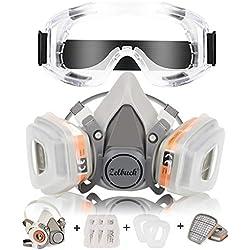 Respirador Zelbuck 107 Máscara de Gas Reutilizable con Gafas de Seguridad Protección Respiratoria Semimáscara con Doble Filtro para Pintura, Polvo, Productos Químicos, Lijado a Máquina, Formaldehído
