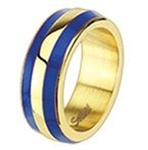 Ring 7mm Edelstahl zweifarbig Blau/Gold gestreift, abgerundete Ränder (Gestreiften Rand)