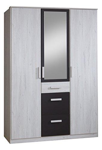 Wimex 357629 Drehtürenschrank, Holz, weißeiche/lavafarbig, 58 x 135 x 199 cm
