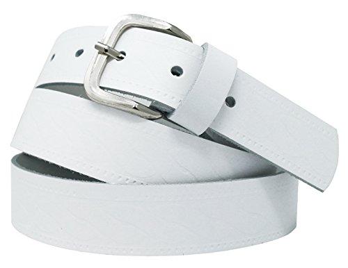 Cinturón de cuero real para mujeres y hombres - Ancho 4 cm - Negro/Marrón / Rojo/Blanco / Gris/Burdeos - Hecho en Alemania (105cm, Blanco 1)