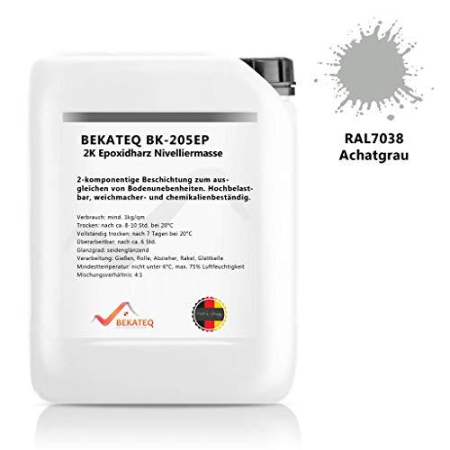 BEKATEQ BK-205EP 2K Epoxidharz Beschichtung, 10kg RAL7038 Achatgrau, Bodenausgleich Nivelliermasse selbstverlaufend
