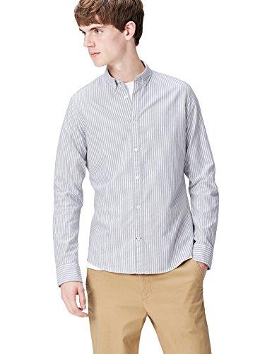 T-shirts camicia slim fit a righe uomo, grigio (grey 103), small