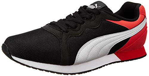 Puma Unisex Black-Ribbon Red Silver Sneakers - 10 UK/India (44.5 EU)(4059507837189)