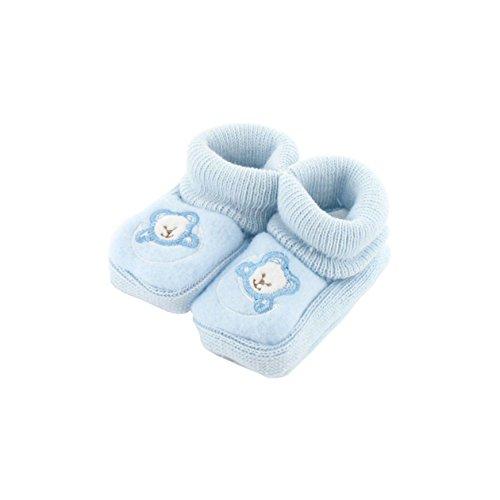 Chaussons pour bébé 0 à 3 Mois bleu - Motif Ourson Lune