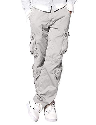 Eshal Fashion Herren Cargo-Hose Militärische Armee Freizeithose Chino Field Outdoor Hose Ranger Herren Workwear 8 Taschen Hose (30-W / 76-cm, Hellgrau) Field-cargo-hose