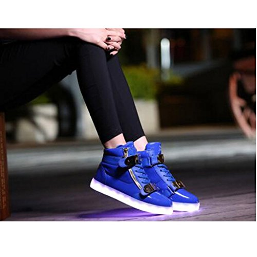 SAGUARO 7 Farbe USB Aufladen LED Leuchtend Lackleder Sport Schuhe Sportschuhe High Top High Top Sneaker Turnschuhe für Unisex-Erwachsene Herren Damen Blau