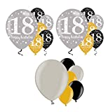 Feste Feiern Geburtstagsdeko 18. Geburtstag I 18 Teile Luftballon Deko-Set Gold Schwarz Silber metallic Party Happy Birthday Jubiläum 18