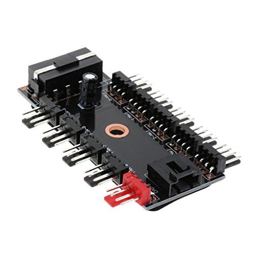 Baoblaze 1 Stück PC Gehäuselüfter Hub PWM Kühlerlüfter Hub SATA und Große 4PIN-Schnittstelle Power Adapter 10x 3-Pol./4-Pol. Interface