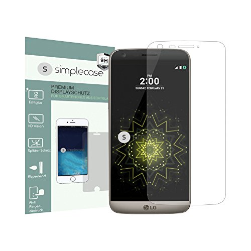 Simplecase Panzerglas passend zu LG G5 , Premium Bildschirmschutz , Schutz durch Extra Härtegrad 9H , Case Friendly , Echtglas / Verb&glas / Panzerglasfolie , Transparent - 1 Stück
