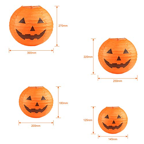 """KESOTO Halloween Lampions Kürbis Set, 10 Stück Hängedekoration für Halloween Party (6""""+ 8""""+10""""+12"""") - 2"""