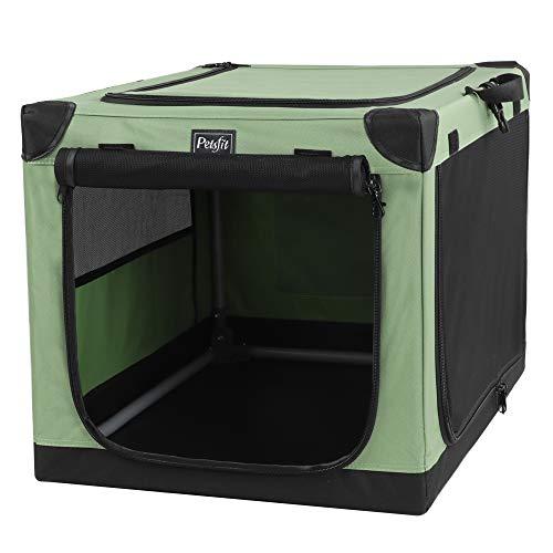 Petsfit Transportbox für mittelgroße bis große Hunde, weich, weich, 73,7 x 49,5 x 48,3 cm, Grün (Tragbare Große Hundebox)