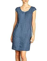 CASPAR Fashion Caspar SKL018 Vestido Corto de Verano de Lino para Mujer con  una Decoración de 90d1662acc4