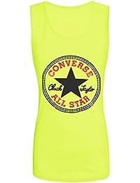 Neue Damen Frauen Mädchen Converse Star Print Lässige Weste Top T-Shirt Muscle Back Größe 36-42