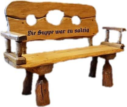 Mittelalterlich Pranger aus Massivholz mit Lasergravur von Ihrem Wunschtext | Holzbank aus Tannen- und Eichenholz