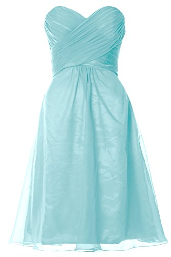 MACloth Women Strapless Cocktail Dress Chiffon Short Wedding Party Formal  Gown Aqua
