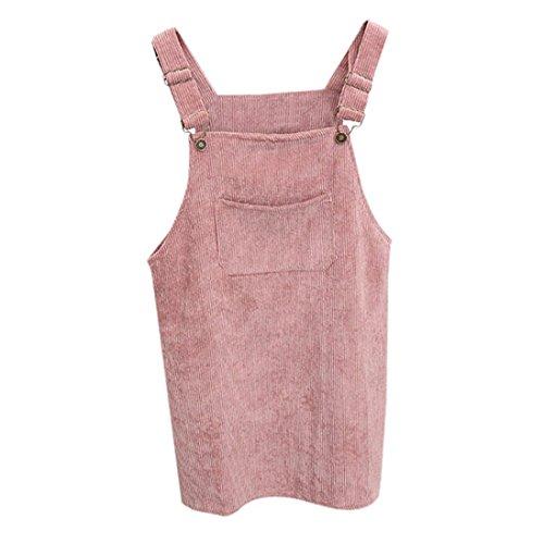 Kanpola Kleider Damen Herbst Cord Straps kurze Tasche gerade Weste Rock Kleid (Rosa Kleid Gestreifte)