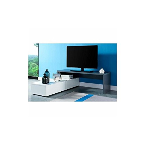 MONCONTAINER.COM Mueble de TV Jupiter Lacado Gris y Blanco