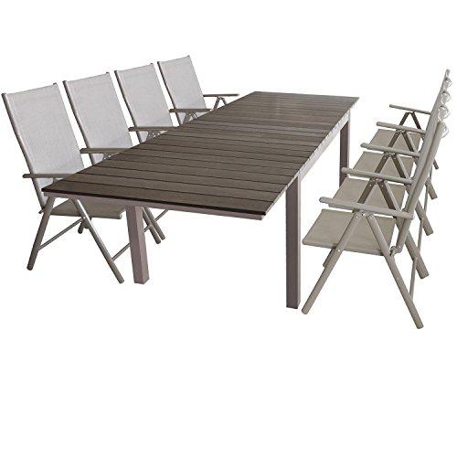 Wohaga Gartenmöbel Gartentisch ausziehbar 160/210/260x95cm, Alugestell mit Polywood-Tischplatte 8X Hochlehner faltbar mit Textilengewebe, 7-Fach