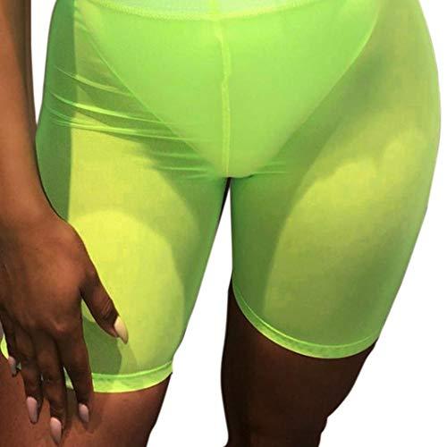 Vovotrade Damen Hot Pants,Elastischer Bund Semi Permeable Ineinander Greifen Kurzschluss Hosen Sport Hot Pants Mesh Sheer Bikini Vertuschen Bademode Transparent Hosen