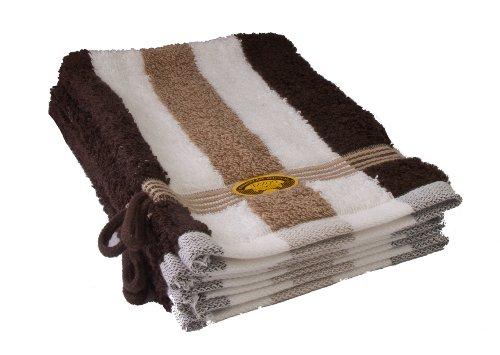 Gözze lot de 4 gants de toilette rayés blanc, marron et moka, 17x24 cm, 100% coton, excellente qualité 550 g/m², moelleux et utra doux Standard 100
