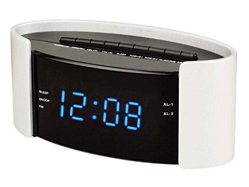 AudioSonic Cl-1493 Uhrenradio (Zwei Weckzeit, Wochenendunterbrechung, SleepTimer, SnoozeFunktion, Kalender) weiß