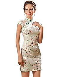 909a16fd4ba7 YueLian Qipao di Seta Sintetica Vestito a Fiori Corto con 2 Colori