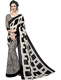 GoSriKi Georgette with Blouse Piece Saree (MILKY BAR WHITE_ Black_ Free Size)