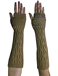 Womens Winter Long Ribbed Cable Knit Fingerless Gloves with Rhinestones