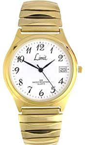 Limit 512301 Gents Gold Plated Expander Watch with White Date Dial