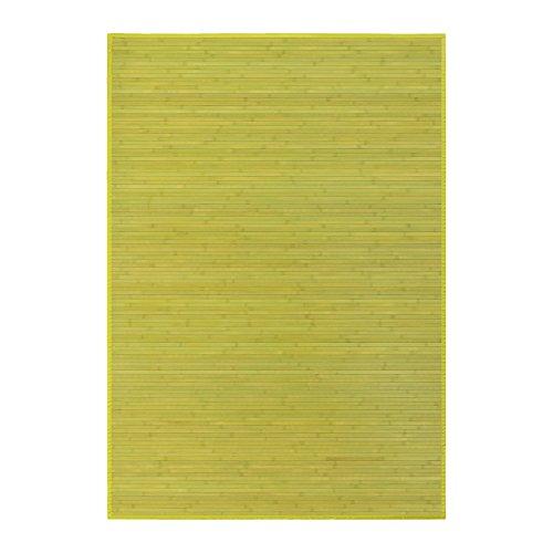 Alfombra de salón o comedor oriental verde de bambú de 140 x 200 cm