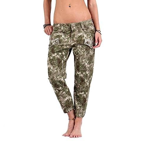 GUESS JEANS Damen Capri Hose Vivid Camouflage Army GWB143 Größe 25