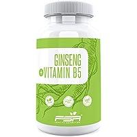 Ginseng Extrakt hochdosiert 90 Kapseln, 500 mg Extrakt davon 50 mg Ginsenoside je veganer Kapsel ohne Zusätze, mit Pantothensäure - von der Profisport-Marke FSA Nutrition, Hergestellt in Deutschland