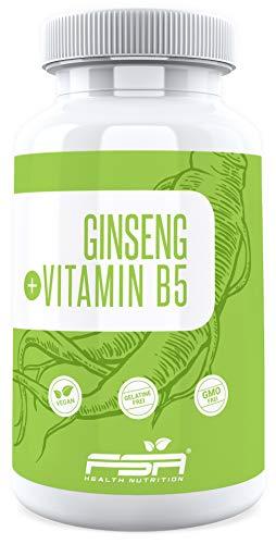 Panax Ginseng Extrakt 90 Kapseln, 500 mg pro Kapsel, mit Vitamin B5, Vegan - Made in Germany - FSA Nutrition