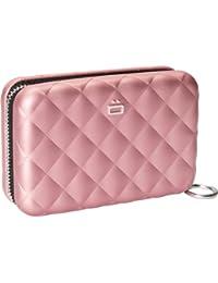 Porte-cartes Quilted Zipper Rose Aluminium matelassé Grande capacité Ögon designs QZ-Pink