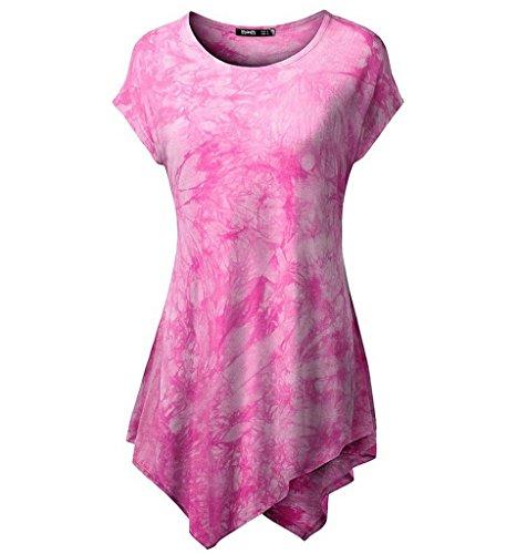 Minetom Damen Langarm Lose Bluse Rundkragen Kurzarm Asymmetrisch T-Shirt Sommer Tunika Oberteil Tops Pink 2