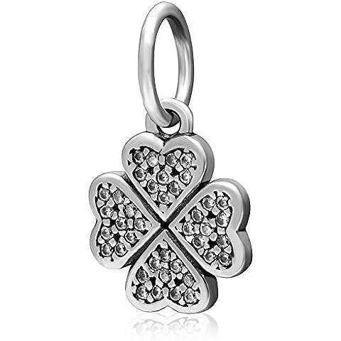 Simbolo di pace del trifoglio Hamsa Protezione delle mani branello di fascino con Clear Cz pietra in argento 925 per il 3 millimetri catena Snake braccialetto