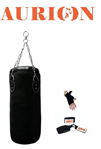 AURION Strong Synthetic leather Punching Bag 48 inch With Hand Wrap (Heavy Bag)