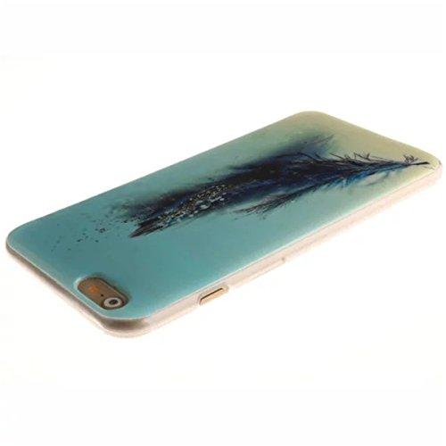 iPhone 6 Hülle Case,iPhone 6S Hülle Case,Gift_Source [Slim Thin] [Drop Protection] Premium Flexible Soft TPU Hülle Case Fashion Silicone Slim Hülle Case Cover für Apple iPhone 6s / 6 [Grass] E01-10-Blue Feather