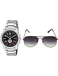 TIMER Combo Of Stylsih Silver Color Dial Watch With Sunglasses For Men And Boy's