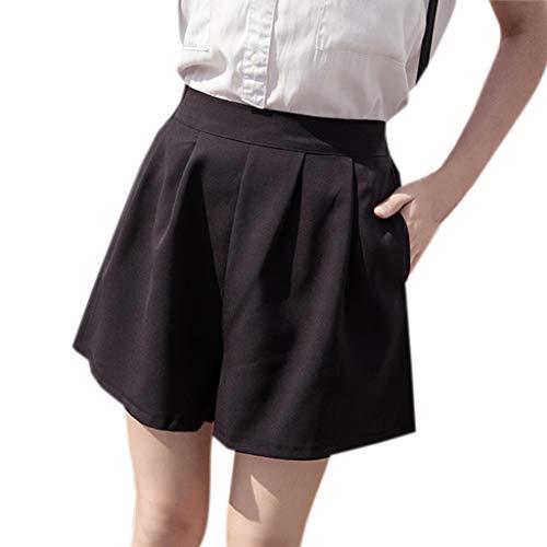 WOZOW Clearance Damen Hosen Shorts Kurze Hosen Übergröße Sommer Solid Falten Gefaltet Lose Lang A Line Trousers Casual Workwear Mode Mini (S,Schwarz)