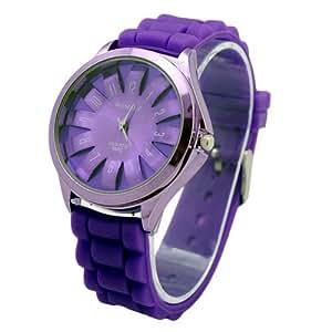 WOMAGE - Montre Femme - Quartz - Caoutchouc - Couleur Mauve - Fashion roue Dial Bracelet en caoutchouc Sport Watches