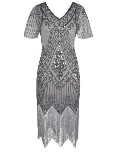 PrettyGuide Damen 1920er Charleston Kleid Pailetten Cocktail Flapper Kleid Mit Ärmel 3XL Grau Silber