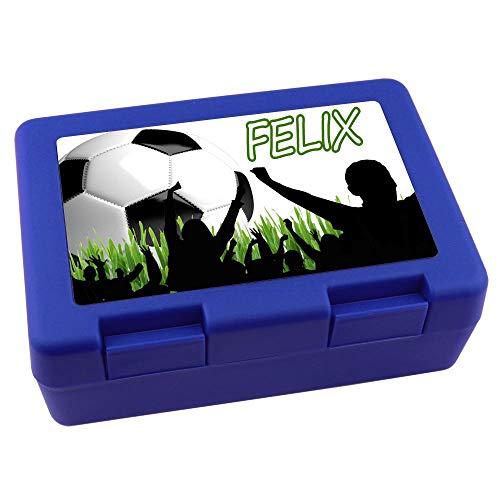 Elefantasie Brotdose blau mit Namen Motiv Fussball Fans Geschenk -