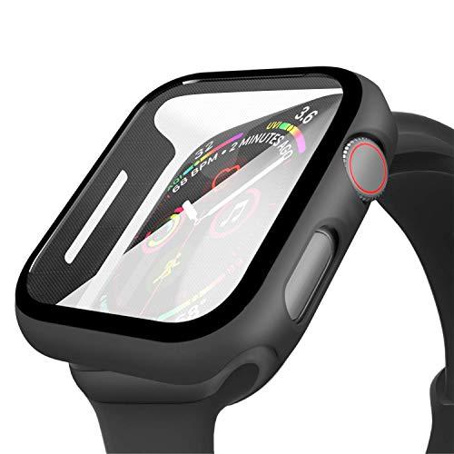 Wenearn Compatibile con Apple Watch 38mm Custodia PC + Pellicola Protettiva, Thin Fit Progettato per Apple Watch 38mm Series 3/2/1 Case Cover [Copertura Completa] [HD Clear] [Anti-Graffio], Nero