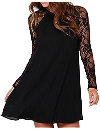 1a352550f33b Kleider Langarm Damen Hemdkleid Spitze Chiffon Kleid Blusekleid Cocktailkleid  Partykleid Casual Kurzarm Kleider Elegant Minikleid…